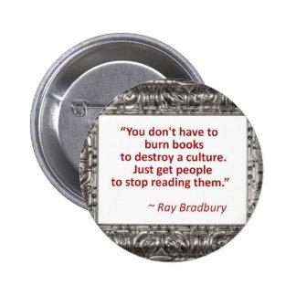 Bradbury on books 6 cm round badge