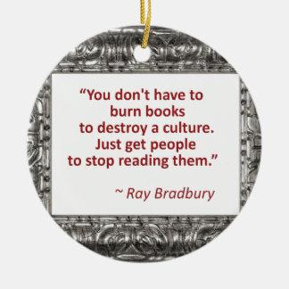 Bradbury on books christmas ornament