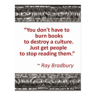 Bradbury on books postcard