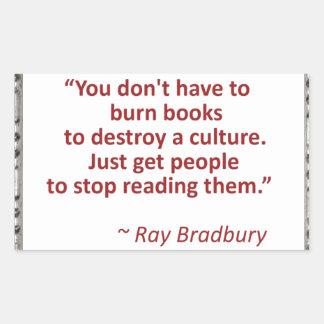 Bradbury on books rectangular sticker