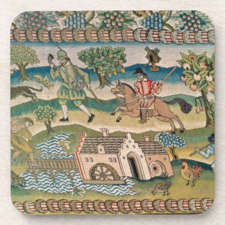 Bradford Table Carpet, detail of scenes of rural l Coaster