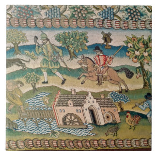Bradford Table Carpet, detail of scenes of rural l Tile