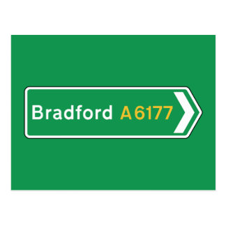 Bradford, UK Road Sign Postcard