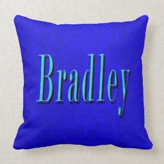 Bradley, Name Logo On Hot Blue Mosaic, Large Cushion