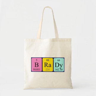 Brady periodic table name tote bag