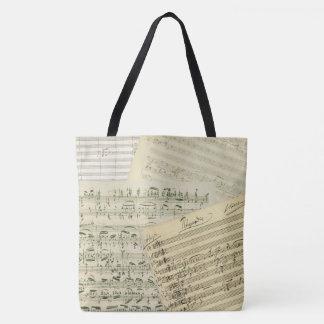 Brahms Authentic Music Manuscripts Collage Tote Bag
