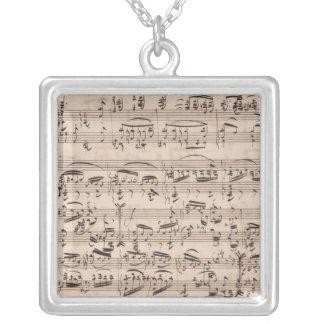 Brahms Manuscript Silver Plated Necklace