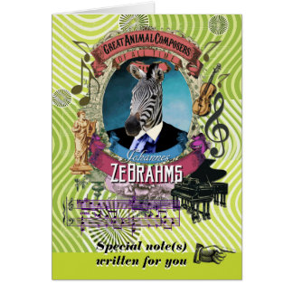 Brahms Parody Zebrahms Animal Composer Zebra Card