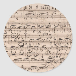 Brahms Theme and Variations Music Manuscript Round Sticker