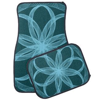 Braided Guilloche Pattern Blue Green Floor Mat