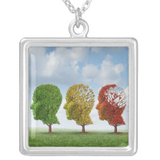 Brain Aging Silver Plated Necklace