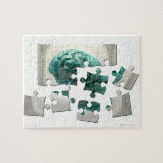 Brain analysis, conceptual computer artwork. jigsaw puzzle