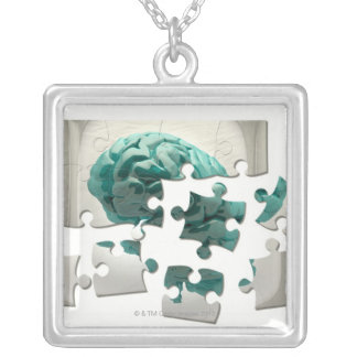 Brain analysis, conceptual computer artwork. silver plated necklace