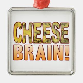 Brain Blue Cheese Silver-Colored Square Decoration