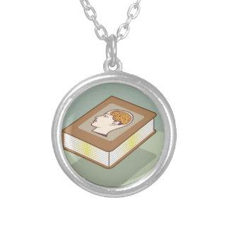 Brain book round pendant necklace