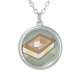 Brain book silver plated necklace