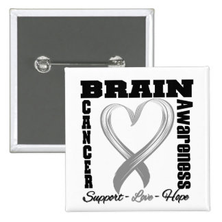 Brain Cancer Awareness Brushed Heart Ribbon 15 Cm Square Badge