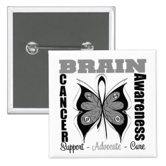 Brain Cancer Awareness Butterfly 15 Cm Square Badge