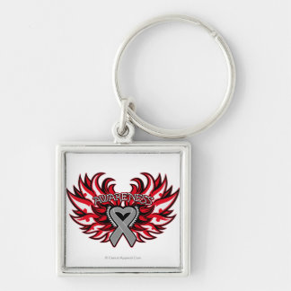 Brain Cancer Awareness Heart Wings.png Silver-Colored Square Key Ring
