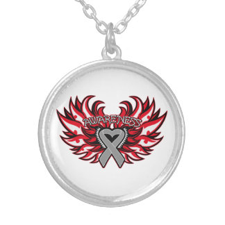 Brain Cancer Awareness Heart Wings Round Pendant Necklace