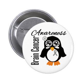 Brain Cancer Awareness Penguin Pinback Button