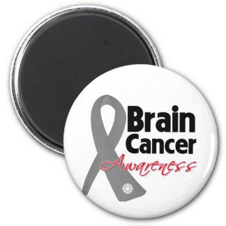 Brain Cancer Awareness Ribbon 6 Cm Round Magnet