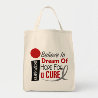 Brain Cancer BELIEVE DREAM HOPE Tote Bag