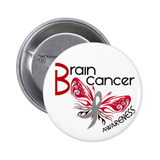Brain Cancer BUTTERFLY 3 6 Cm Round Badge