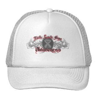 Brain Cancer Faith Love Hope Deco Heart Mesh Hat