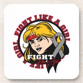 Brain Cancer Fight Like A Girl Attitude Beverage Coaster