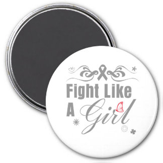Brain Cancer Fight Like A Girl Ornate 7.5 Cm Round Magnet
