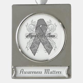 Brain Cancer Flourish Hope Faith Cure Silver Plated Banner Ornament