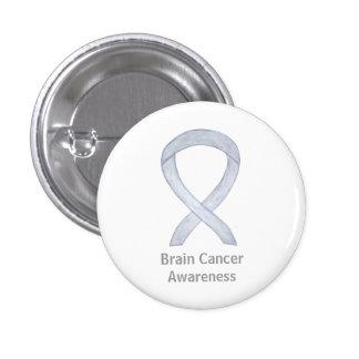 Brain Cancer Gray Awareness Ribbon Button Pin