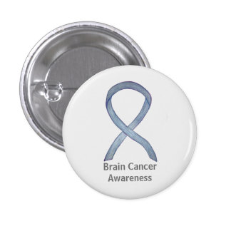 Brain Cancer Gray Awareness Ribbon Button Pins