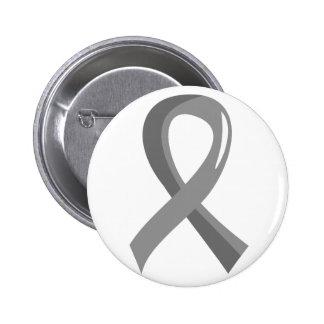 Brain Cancer Grey Ribbon 3 Pinback Button