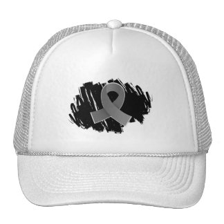 Brain Cancer Grey Ribbon With Scribble Cap