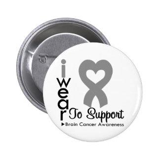 Brain Cancer Heart Ribbon Awareness 6 Cm Round Badge
