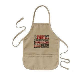 Brain Cancer HERO COMES ALONG 1 Brother Kids' Apron