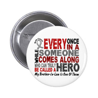 Brain Cancer HERO COMES ALONG 1 Brother-In-Law 6 Cm Round Badge