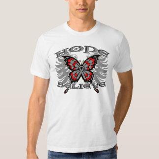 Brain Cancer Hope Believe Butterfly T Shirt