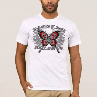 Brain Cancer Hope Believe Butterfly T-Shirt