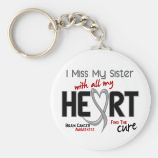 Brain Cancer I MISS MY SISTER Basic Round Button Key Ring