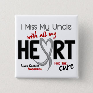 Brain Cancer I MISS MY UNCLE WITH ALL MY HEART 2 15 Cm Square Badge