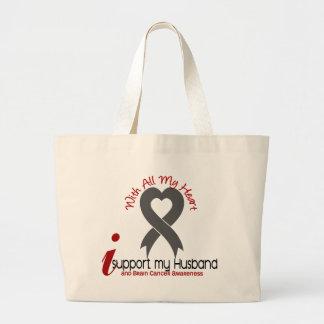 Brain Cancer I Support My Husband Large Tote Bag