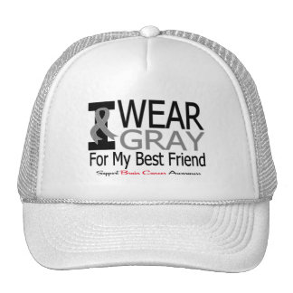 Brain Cancer I Wear Gray Ribbon For My Best Friend Mesh Hat