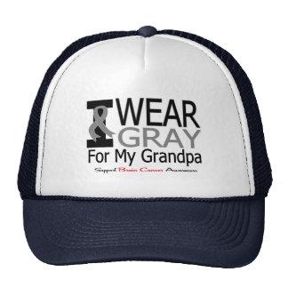 Brain Cancer I Wear Gray Ribbon For My Grandpa Hats