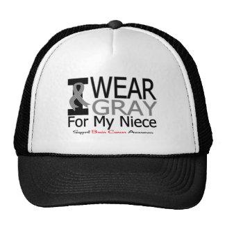 Brain Cancer I Wear Gray Ribbon For My Niece Hats