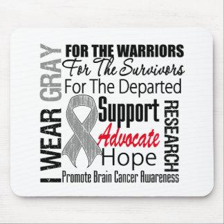 Brain Cancer I Wear Gray Ribbon TRIBUTE Mousepad