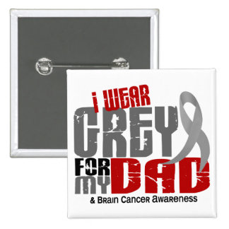 Brain Cancer I Wear Grey For My Dad 6.2 15 Cm Square Badge