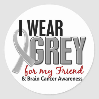 BRAIN CANCER I Wear Grey For My Friend 10 Round Sticker